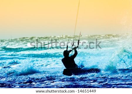 kite boarder in action - stock photo