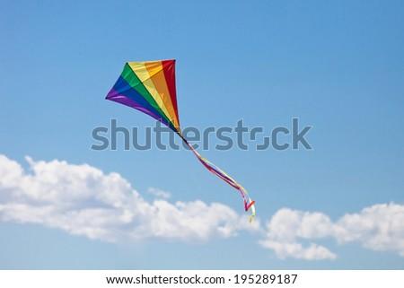 kite's colors in the blue sky - stock photo