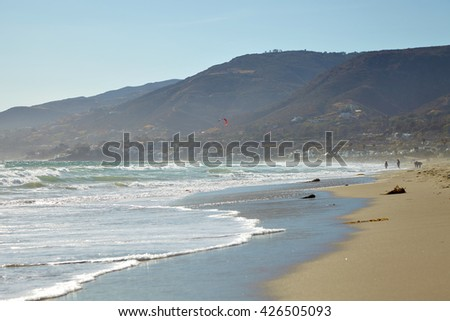 Kite surfer California coastal shores : Malibu beaches Summer - stock photo