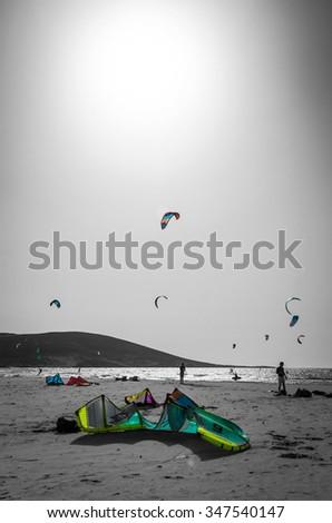 Kite surfing beach on Rhodes - stock photo
