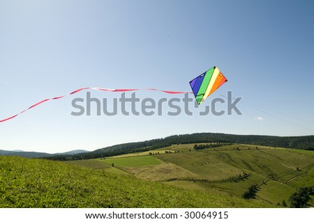 kite with summer landscape - stock photo