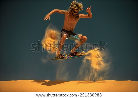 Kitesurf freestyle at sunset. - stock photo