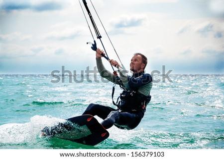 Kitesurfer in Black Sea, Crimea - stock photo