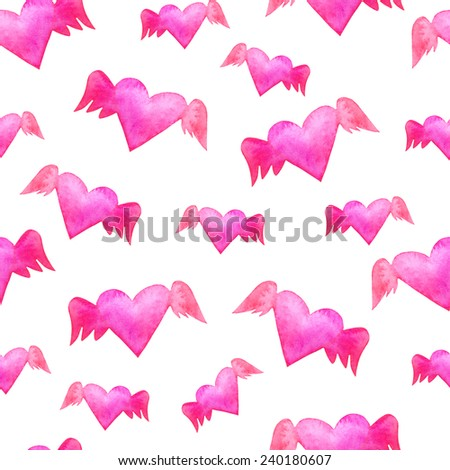 Kitschy watercolor Valentine's Day seamless pattern with winged hearts. Winged flying hearts backdrop. Watercolor Valentine's Day background with winged hearts silhouettes. - stock photo