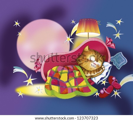 Kitten sleeps in crib. Red cat sleeps in the sausage. He nestled patchwork blanket. There are pillow, slippers, lampshade, dark-blue sky, falling stars and a full moon. this is story for children. - stock photo