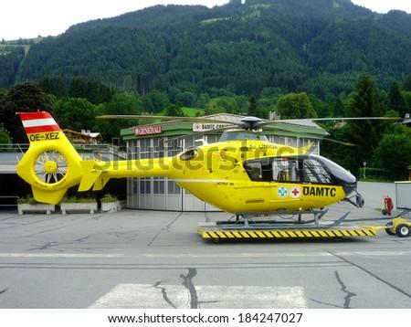 KITZBUHEL AUSTRIA JUNE 08:  Austrian rescue helicopter in Kitzbuhel Austria on june 08 2010.  - stock photo