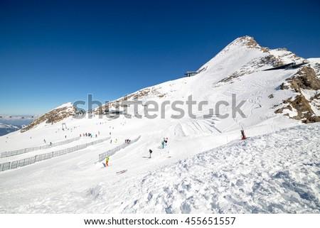 Kitzsteinhorn - Kaprun ski area during sunny wather in spring season 2016 - stock photo