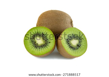 Kiwi fruit and a sliced one isolated on a white background - stock photo