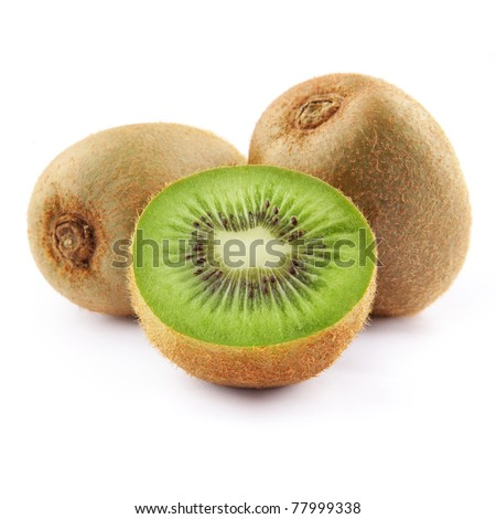 kiwi fruit isolated on white background - stock photo