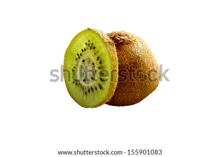 Kiwi Fruit white background - stock photo