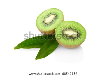 Kiwi fruit with leaves isolated on white, clipping path included - stock photo