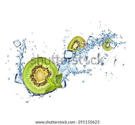 Kiwi in water splashes and ice cubes isolated on white background - stock photo