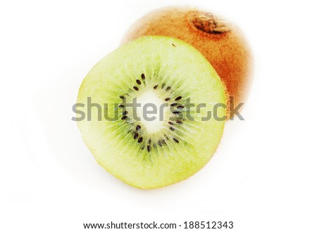 kiwi macro isolated on white - stock photo
