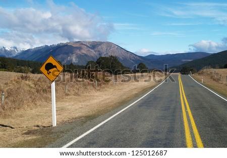 Kiwi roadsign, New Zealand - stock photo