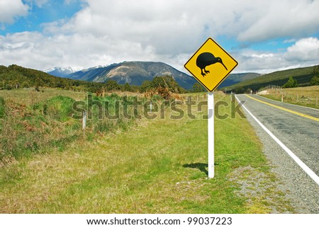 Kiwi sign by the road - stock photo