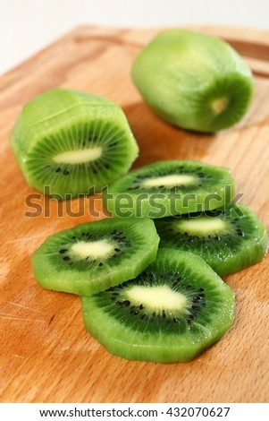 Kiwi slices (kiwifruit) - stock photo