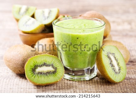 kiwi smoothie with fresh fruits - stock photo