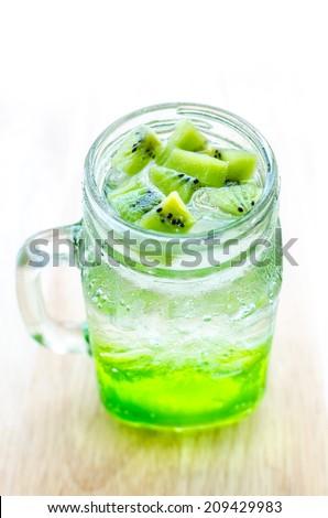Kiwi soda in a glass , top view kiwi with soda , Kiwi fruit juice ...