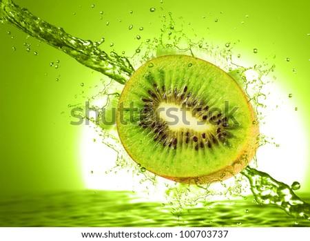 Kiwi wet isolated on a white - stock photo
