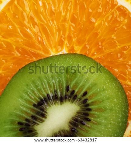kiwi with orange - stock photo