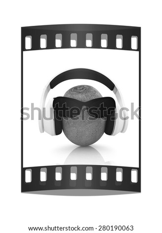 "kiwi with sun glass and headphones front ""face"" on a white background. The film strip - stock photo"