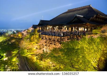 Kiyomizu temple at night in Kyoto, Japan - stock photo
