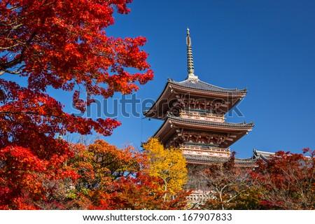Kiyomizu Temple in Kyoto, Japan. - stock photo