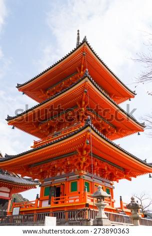 kiyomizu temple tower in kyoto, Japan. - stock photo