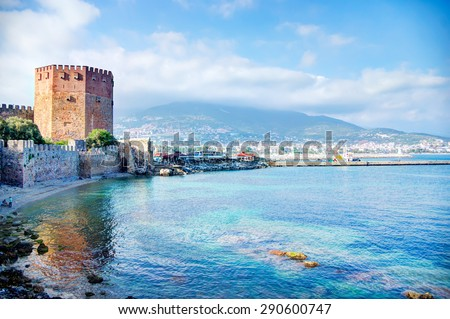 Kizil Kule - Ancient Red Tower in port of Alanya, Turkey - stock photo