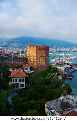Kizil Kule - Ancient Red Tower is a symbol of Alanya, Turkey - stock photo