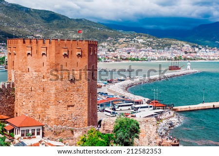 Kizil Kule (Red Tower) is a historical tower in the Turkish city of Alanya - stock photo