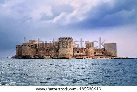 Kizkalesi sea castle near Mersin, Turkey - stock photo
