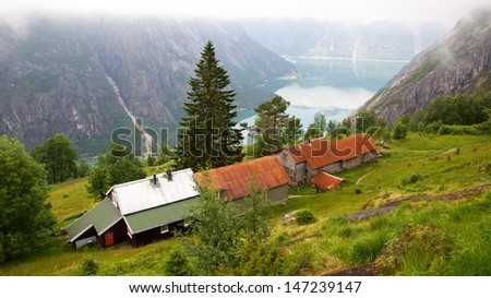Kjeasen farm with view on Eidfjord, the most popular farm in Norway - stock photo