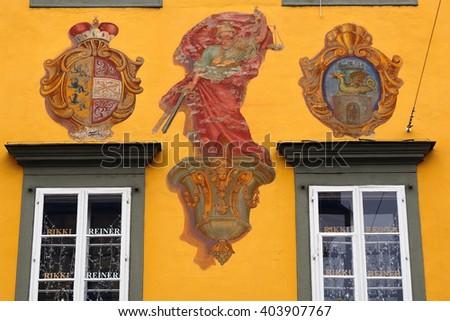 KLAGENFURT - DECEMBER 20 : Old city at 20 December, 2015 in Klagenfurt, Austria. Klagenfurt has a small, but beautiful medieval old city. - stock photo