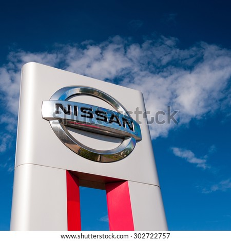 KLAIPEDA-JUL 26: Nissan dealership logo on July 26, 2015, Klaipeda, Lithuania. Nissan Motor Corporation is a Japanese multinational automobile manufacturer headquartered in Nishi-ku, Yokohama, Japan. - stock photo