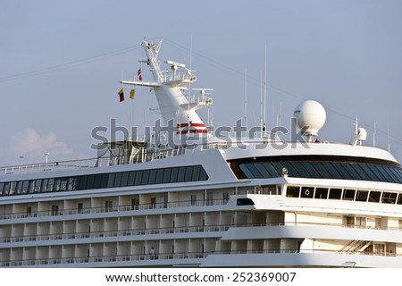 KLAIPEDA,LITHUANIA- AUG 05:cruise liner CRYSTAL SYMPHONY in port on August 05,2012 in Klaipeda, Lithuania. - stock photo