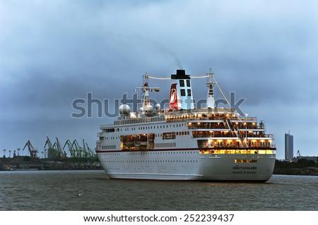 KLAIPEDA,LITHUANIA-AUG 21:cruise liner DEUTSCHLAND in port on August 21,2012 in Klaipeda,Lithuania. - stock photo