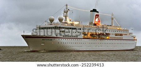KLAIPEDA,LITHUANIA-AUG 21:cruise liner DEUTSCHLAND in the Baltic sea on August 21,2012 in Klaipeda,Lithuania. - stock photo
