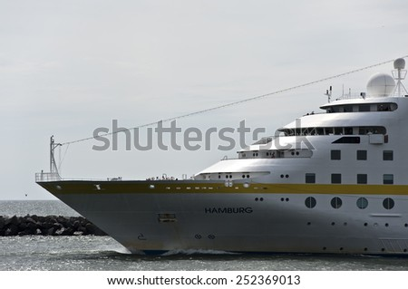 KLAIPEDA,LITHUANIA- AUG 13:cruise liner HAMBURG in port by piera on August 13,2012 in Klaipeda, Lithuania. - stock photo