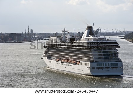 KLAIPEDA,LITHUANIA-AUG 11:Cruise liner in the port on August 11,2014 in Klaipeda,Lithuania.MS Marina- Oceania-class cruise ship, constructed in Italy for Oceania Cruises. - stock photo