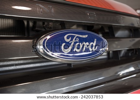 KLAIPEDA,LITHUANIA_JAN 06:FORD logo on January 06,2015 in Klaipeda, Lithuania.The Ford Motor Company is an American multinational automaker. It was founded by Henry Ford. - stock photo