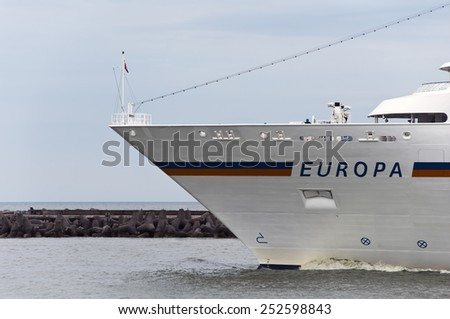 KLAIPEDA,LITHUANIA-JULY 01: Luxury cruise liner EUROPA in port on July 01,2012 in Klaipeda, Lithuania. - stock photo