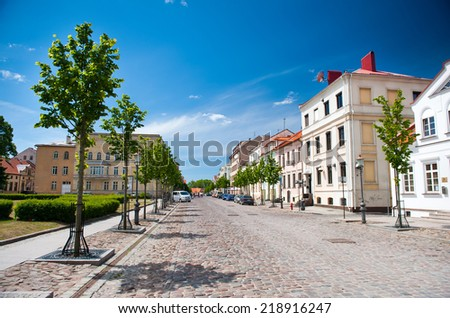 KLAIPEDA, LITHUANIA - JUNE 1: Old-town of Klaipeda on June 1, 2014 Klaipeda, Lithuania. Klaipeda is the third largest city in Lithuania. In 2014 the population is 157,350. - stock photo
