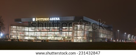 KLAIPEDA,LITHUANIA - NOV 13: SVYTURIO sports arena by  night on November 13, 2014 in KLAIPEDA, Lithuania.  - stock photo