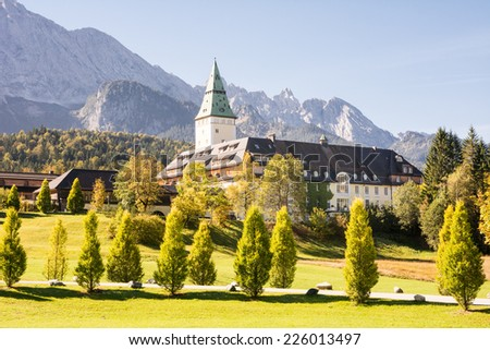 KLAIS, GERMANY - SEPTEMBER 28: Schloss Elmau in Klais, Germany on September 28, 2014. The castle which is now a luxury hotel will be the site of the  G7 summit in 2015.  - stock photo