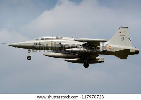 KLEINE BROGEL, BELGIUM - JULY 16: A Spanish Air Force F-5 Tiger arriving after a mission during the COMAO exercise on July 16, 2007 in Kleine Brogel, Belgium - stock photo