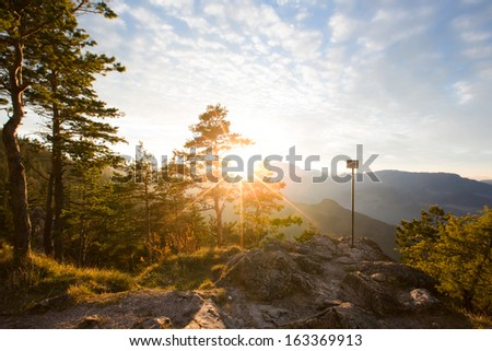 Kleine Kanzel in the Nature Park Hohe Wand in Austria - stock photo