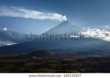 Klyuchevskaya Sopka (Kliuchevskoi Volcano) - highest mountain on Kamchatka and the highest active volcano of Eurasia - stock photo