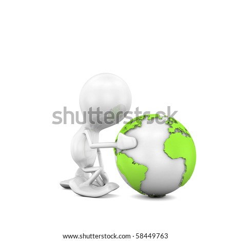 Kneeling before the Planet - stock photo