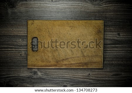 knife and cutting board used condition stylized - stock photo